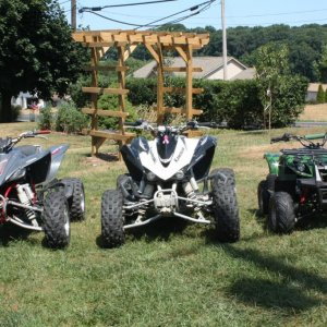 left: my husband's '07 YFZ450 middle: my '08 KFX450R right : our daughter's 110cc